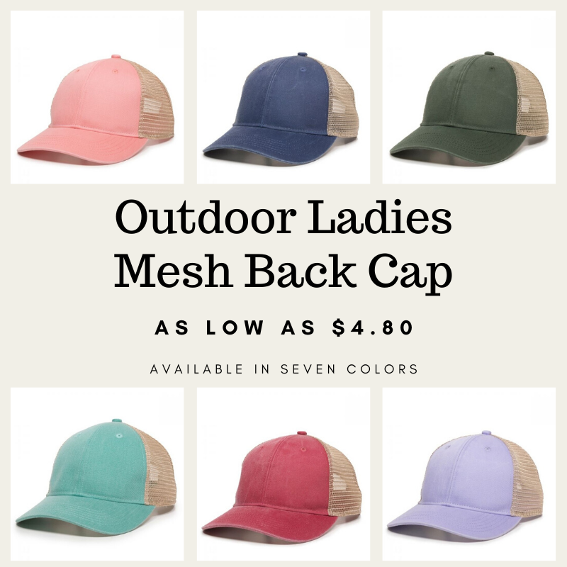 "Images of six caps, in pink, navy, olive, teal, red, and lavender. Text in the middle of the image says ""Outdoor Ladies Mesh Back Cap As low as $4.80 Available in seven colors"""