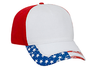 Otto-US Flag Pattern Distressed Visor Garment Washed Cotton Twill image