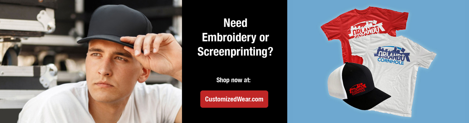 Custom embroidery or screen print on a cap or shirt