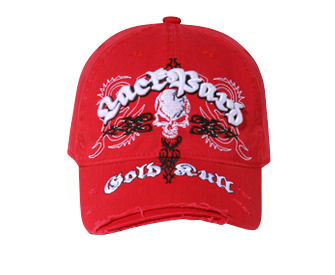 Otto-3D Lackpard Embroidered Skull Distressed Visor   Themed & Decorated Caps