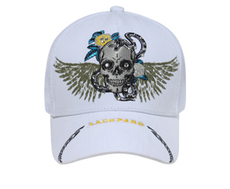 Otto-Skull with Wings & Rhinestones Mesh Back Caps | Themed & Decorated Caps