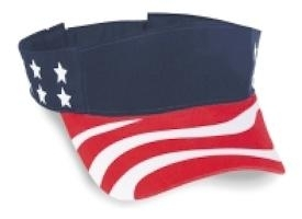 Cobra Caps: USA Flag Sun Visor | Wholesale Blank Caps & Hats | CapWholesalers