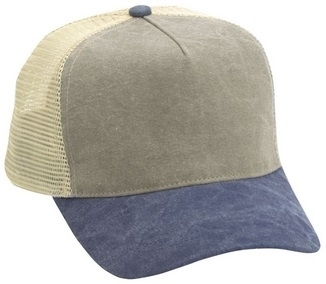 Cobra-5 Panel Washed Canvas Mesh Back | Wholesale Blank Caps & Hats | CapWholesalers
