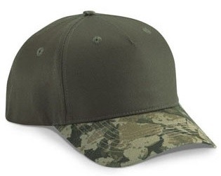 5 Panel Cotton Twill w/BS Camo Visor | Wholesale Blank Caps