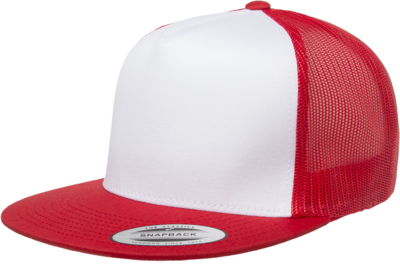 Yupoong Flat Billed White Front Trucker Mesh | Wholesale Blank Caps & Hats | CapWholesalers