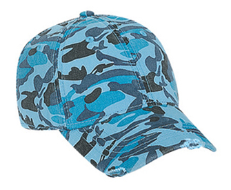 Otto Youth Camouflage Garment Washed Cotton Twill Distressed Visor Pro Style Cap | Wholesale Blank Caps & Hats | CapWholesalers