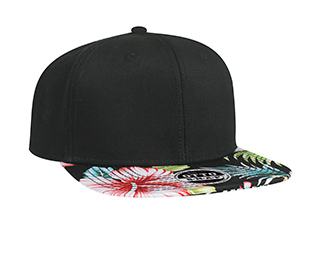 Otto Wholesale caps | Superior Cotton Twill with Hawaiian Pattern Flat Visor Pro Style Snapback