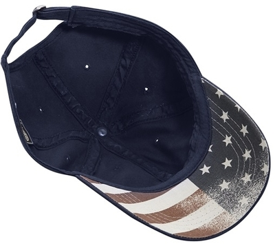 Cobra 6-Panel Chino Washed with Faded USA Flag Printed Under Bill Cap | Wholesale Blank Caps & Hats | CapWholesalers