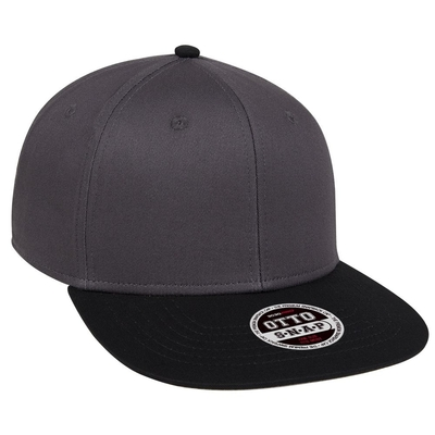 COTTON TWILL SQUARE FLAT VISOR OTTO 6 PANEL PRO SNAPBACK   FLAT BILLED HATS