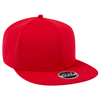 Otto Caps: Wholesale Cool Comfort Polyester Cool Mesh Sq Flat Visor 6 Panel Hat