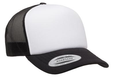 Flexfit Curved Visor White Front Foam Trucker   Wholesale Blank Caps & Hats   CapWholesalers