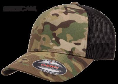 Yupoong Flexfit MultiCam Cotton Camo Trucker Mesh  | Wholesale Blank Caps & Hats | CapWholesalers