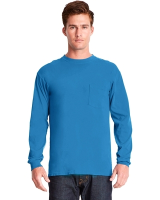 Next Level Adult Inspired Dye Long-Sleeve Crew with Pocket | Mens Long Sleeve Tee Shirts