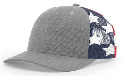 Richardson 6 Panel Trucker Stars & Stripes Mesh Back Hat at Cap Wholesalers