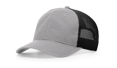 Richardson Caps: Garment Washed Relaxed Trucker Mesh Cap -Wholesale Blank Hats