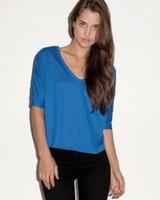 Image Bella Ladies 3.7 oz Flowy V-Neck Cropped Half-Sleeve T-Shirt