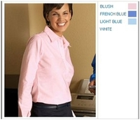 Image Harriton Ladies Long-Sleeve Oxford with Stain Release