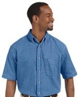 Image Harriton Mens Short-Sleeve Denim Shirt