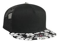 Image Otto- Hawaiian Pattern Flat Visor Pro Style Mesh Back Snapback Cap