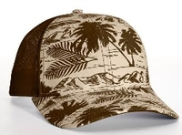 Image Richardson Trucker Island Pattern Twill Trucker  Mesh copy