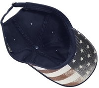 Image Cobra 6-Panel Chino Washed with Faded USA Flag Printed Under Bill