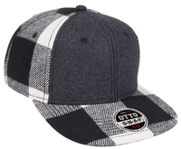 Image Brushed Wool Blend Plaid Squared Flat Visor 6 Panel Pro Snapback