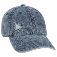 Image Otto 6 Panel Low Profile Distressed Snow Wash Denim Cap