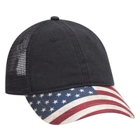 Image American Flag Visor Garment Washed Superior Soft Mesh Back