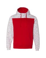 Image J America Adult Melange Color Blocked Hooded Sweatshirt