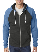 Image J America Adult Triblend Colorblock Full-Zip Fleece Hood