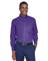 Image Harriton Mens Easy Blend Long-Sleeve Twill Shirt with Stain-Release