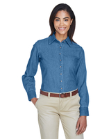 Image Harriton Ladies 6.5 oz. Long-Sleeve Denim Shirt