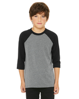 Image Bella + Canvas Youth 3/4-Sleeve Baseball T-Shirt
