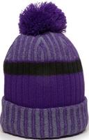 Image Outdoor Heathered Rib Knit Watch Hat Pom Pom