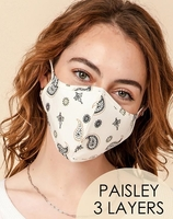 Image 3-Layer Paisley Face Cover Washable Reusable (Pack of 10) $20.00=$2.00 each