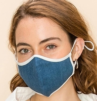 Image 2-Layer Denim Face Washable Reusable (Pack of 10) $20.00=$2.00 each