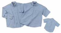 Image Cobra-6.5 oz. Washed Sky Blue Denim Long Sleeve Shirt